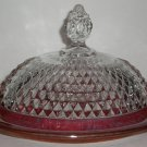 Indiana Glass Company - Diamond Point Ruby Band - Covered Butter Dish