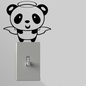 Angel Panda Light Switch Wall Art Vinyl Decal