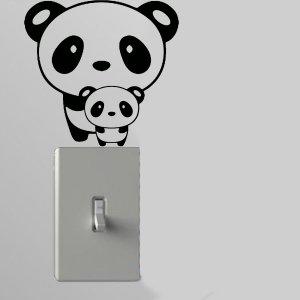 Panda w/Baby Light Switch Wall Art Vinyl Decal