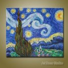 """Starry Night by Van Gogh --100% Hand-painted Huge size: 36""""x24"""""""