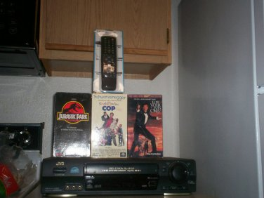 Free USA Shipping With JVC 4 Head HIFI S-VHS VCR W/Child Lock/Remote & 3 Movies
