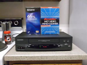 Refurbished Daewoo DV-T8DN 19U 4 Head VHS Gray VCR W/Sony VHS Cleaner & 6HR Tape
