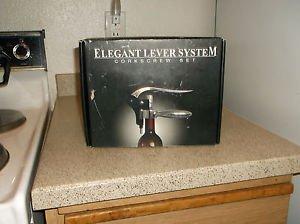 $0-Ship W/ Elegant Lever System Wine Opener Corkscrew Kit Bottle Opener 1-3 Set