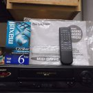 $0-Ship W/ Refurbished Sharp VC-A323U Mid-Drive 4 19U Head VHS VCR & VHS Tape