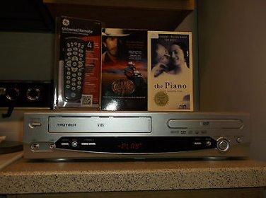 $0-Ship W/Refurbished Trutech DV4TS05 VCR/DVD HiFi Player W/4-1 Remote & 2 Movie