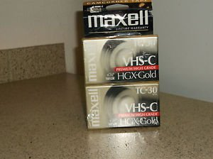 $0 Ship W/ 2 Pack Maxwell Premium HGX-Gold VHS-C Digital Camcorder 30 Min. Tapes