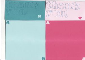 Set of 4 Pink & Blue Thank You Cards