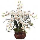 Cymbidium w/Decorative Vase Silk Arrangement White