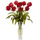 Tulips w/Vase Silk Flower Arrangement Red