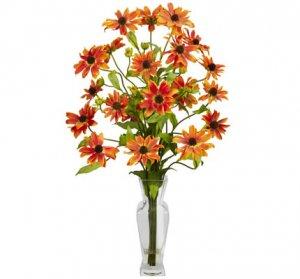 Cosmos w/Vase Silk Flower Arrangement Orange