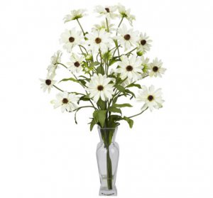 Cosmos w/Vase Silk Flower Arrangement White