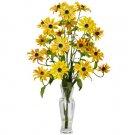 Cosmos w/Vase Silk Flower Arrangement Yellow
