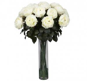 Fancy Rose Silk Flower Arrangement White