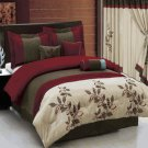 Pasadena Burgundy Champage Floral 11-Piece Bed in a Bag King