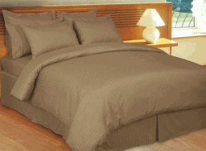 Stripe Taupe Down Alternative Bed in A Bag 100% Egyptian cotton, 600 Thread count Queen