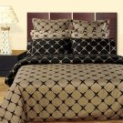 Taupe and Black 8PC Bloomingdale Duvet covers and sheet set Egyptian Cotton Full