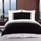 Astrid Black & White Embroidered 3-Piece Duvet Cover Set Full/Queen