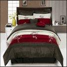 Portland Burgundy 8-Piece Comforter Set Queen
