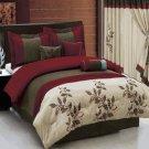 Pasadena Burgundy 7-Piece Comforter Set King