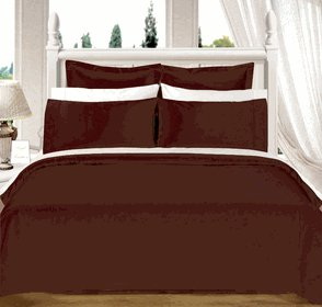 Chocolate Solid Down Alt. 4-pc Comforter Set, Egyptian cotton, 550 count King/Cal King