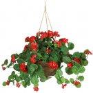 Nearly Natural Artificial Red Geranium Silk Hanging Basket