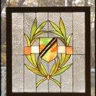 "24""W X 26""H Shield Wood Frame Stained Glass Window"
