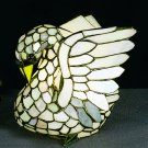 """Stained Glass 14""""H Tiffany Swan Accent Lamp"""