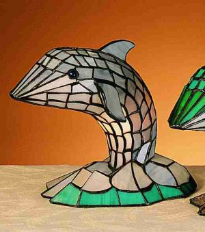 "Stained Glass 15""H Tiffany Dolphin Gray Accent Lamp"