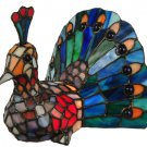 """Stained Glass  7.25""""H Tiffany Peacock Accent Lamp"""