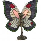 """Meyda Tiffany 18""""H Beauty Butterfly Accent Lamp Stained Glass"""