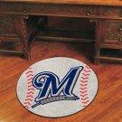 """MLB-Milwaukee Brewers 29"""" Round Baseball Rug"""