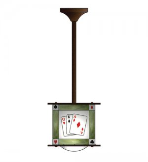 """Meyda Hand Crafted black white stained glass 10"""" Sq Texas Hold-Em Pendant Ceiling Fixture"""