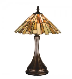 "17"" Jadestone Delta Hand Cut Stained Glass Accent Table Lamp"