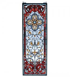"Meyda 11""W X 32""H Versaille Quatrefoil Stained Glass Window Panel"