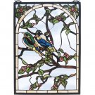 "Meyda 14""W X 20""H Lovebirds Stained Glass Window Panel"