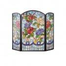"Meyda Tiffany Style Hand Cut Stained Glass 40""W X 34""H Dragonfly Flower Folding Fireplace Screen"