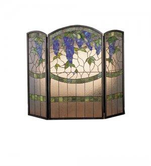 Meyda Tiffany Style Hand Cut Stained Glass  Wisteria Fireplace Screen Fireplace Screen