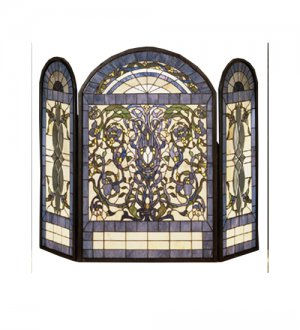 Meyda Tiffany Style Hand Cut Stained Glass Ribbons & Flowers Fireplace Screen