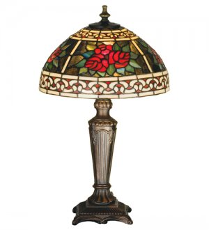 """Meyda 16.5"""" Stained Glass Tiffany Roses Scroll Accent Table Lamp"""