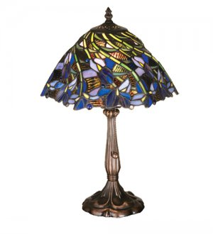 """Meyda Stained Glass 18""""H Spiral Iris Flowers Accent Table Lamp"""