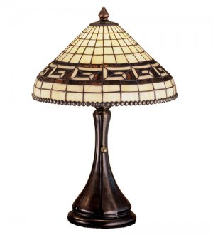 """Meyda Stained Glass 18.5"""" Greek Key Accent Table Lamp"""