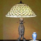 "Meyda Stained Glass 24"" Tiffany Diamond Jewel Accent Table Lamp"