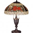 """Meyda Stained Glass 25"""" Tiffany Roses Scroll Accent Table Lamp"""