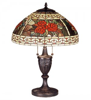 "Meyda Stained Glass 25"" Tiffany Roses Scroll Accent Table Lamp"