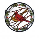 Meyda Tiffany Stained Art Glass Cardinals Holly Medallion Round Hanging Window Panel