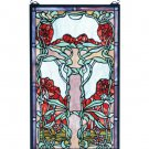 "Meyda Tiffany Stained Art Glass 15""W X 25""H Nouveau Lily Hanging Window Panel"