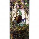 Meyda Tiffany Stained Art Glass Peacock Hanging Window Panel