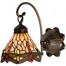 Meyda Tiffany Stained Art Glass Hanginghead Dragonfly Wall Sconce
