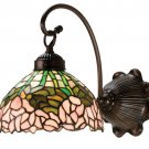 Meyda Tiffany Stained Art Glass Cabbage Rose Wall Sconce