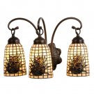 Meyda Tiffany Stained Art Glass Pine Barons Pinecone 3 Light Vanity